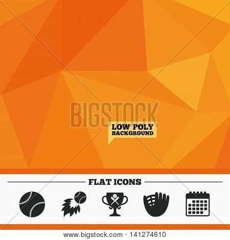 Triangular low poly orange background. Baseball sport icons. Ball with glove and two crosswise bats signs. Fireball with award cup symbol. Calendar flat icon. Vector