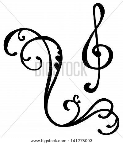 Swirl whirl treble clef key hand drawn doodle isolated vector