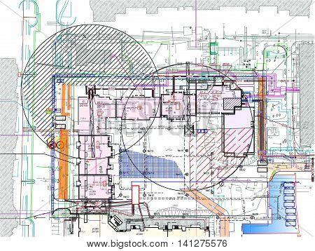 master plan, construction site, building the border, tower crane, storage area