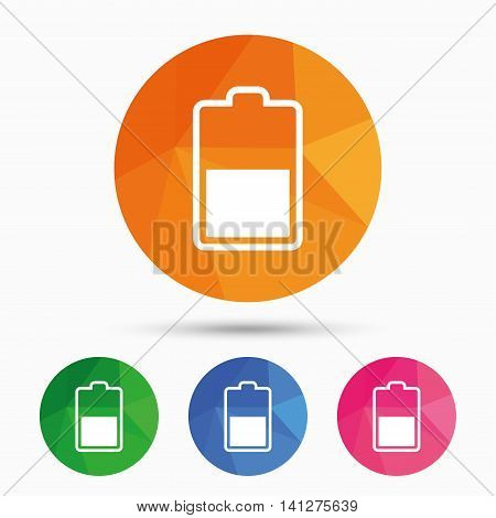 Battery half level sign icon. Low electricity symbol. Triangular low poly button with flat icon. Vector