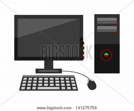 Desktop computer vector and desktop computer keyboard internet isolated display icon. Pc technology monitor screen desktop computer and communication modern desktop computer