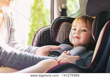 Toddler Girl In Her Car Seat