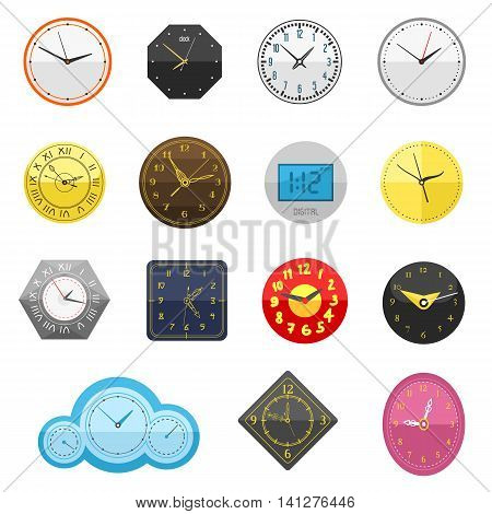 Clocks face dial watch alarm vector illustration. Clock face icon isolated on white background. Clocks, watch silhouette. Old, retro, modern and fashion clocks. Time tools icons, alarm, watch icons isolated