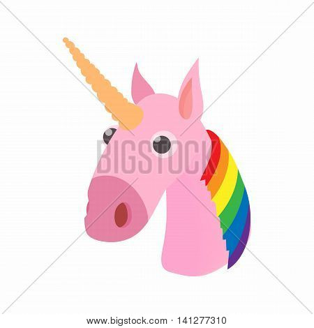 LGBT rainbow unicorn icon in cartoon style isolated on white background. Love symbol