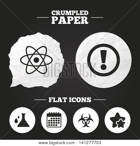 Crumpled paper speech bubble. Attention and biohazard icons. Chemistry flask sign. Atom symbol. Paper button. Vector