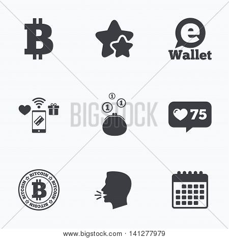 Bitcoin icons. Electronic wallet sign. Cash money symbol. Flat talking head, calendar icons. Stars, like counter icons. Vector