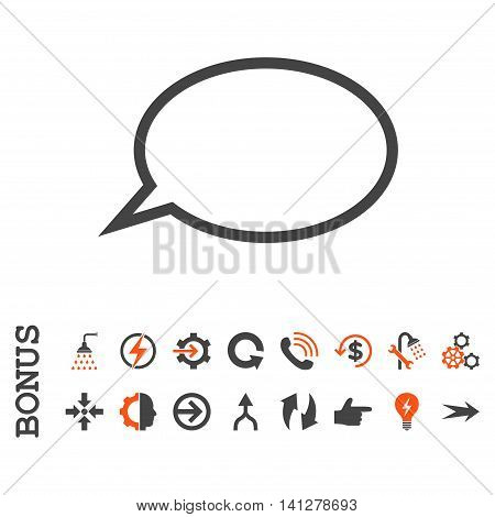 Hint Cloud vector bicolor icon. Image style is a flat pictogram symbol, orange and gray colors, white background.