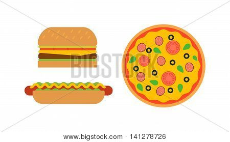 Hamburger fast food and pizza tasty grilled american dinner. Hamburger classic cuisine gourmet fast food. Pizza with meat, lettuce and cheese sandwich fast food