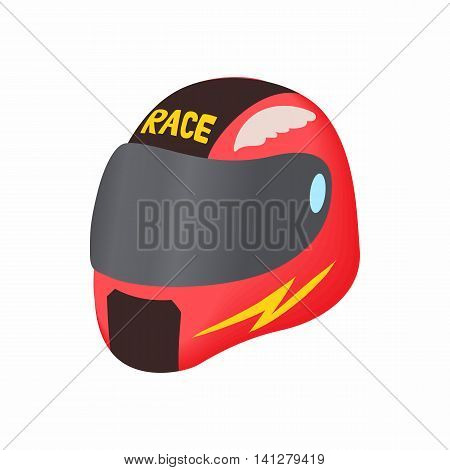 Racing helmet icon in cartoon style isolated on white background. Equipment symbol