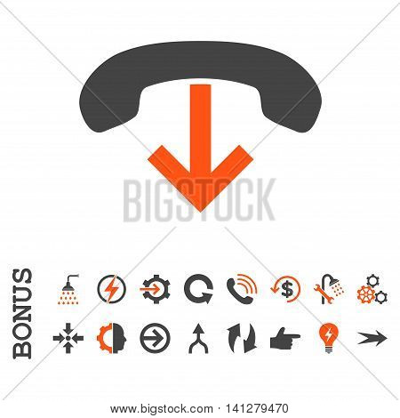 Phone Hang Up vector bicolor icon. Image style is a flat pictogram symbol, orange and gray colors, white background.