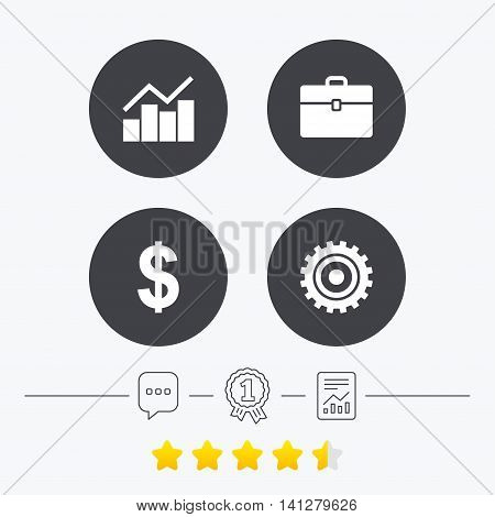 Business icons. Graph chart and case signs. Dollar currency and gear cogwheel symbols. Chat, award medal and report linear icons. Star vote ranking. Vector