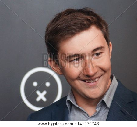 MOSCOW, RUSSIA - MARCH 16 2016 - Portrait of Sergey Karjakin, winner of 2016 Candidates Tournament in Chess. He will play for world crown against Magnus Carlsen.