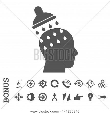 Brain Washing vector icon. Image style is a flat pictogram symbol, gray color, white background.