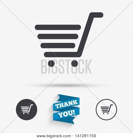 Shopping Cart sign icon. Online buying button. Flat icons. Buttons with icons. Thank you ribbon. Vector