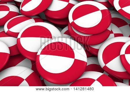 Greenland Badges Background - Pile Of Greenlandic Flag Buttons 3D Illustration