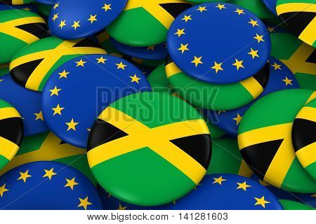 Jamaica And Europe Badges Background - Pile Of Jamaican And European Flag Buttons 3D Illustration