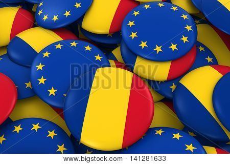 Romania And Europe Badges Background - Pile Of Romanian And European Flag Buttons 3D Illustration