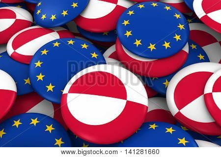 Greenland And Europe Badges Background - Pile Of Greenlandic And European Flag Buttons 3D Illustrati