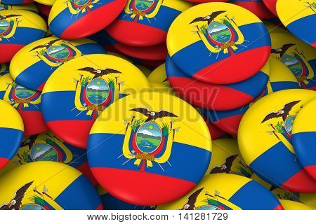 Ecuador Badges Background - Pile Of Ecuadorian Flag Buttons 3D Illustration