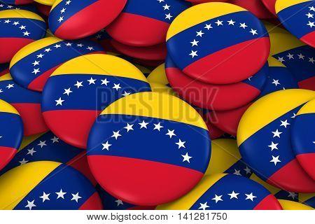 Venezuela Badges Background - Pile Of Venezuelan Flag Buttons 3D Illustration