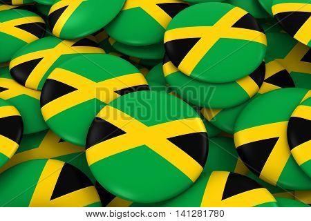 Jamaica Badges Background - Pile Of Jamaican Flag Buttons 3D Illustration