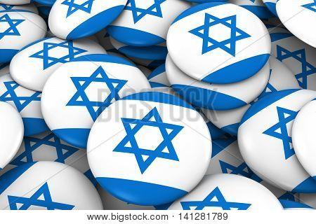 Israel Badges Background - Pile Of Israeli Flag Buttons 3D Illustration