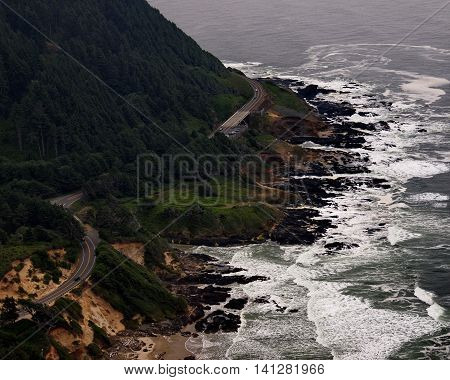 Highway 101 winds along the Oregon coast on a drizzly fall afternoon.