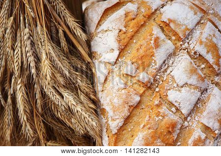 Traditional baked bread and ears of wheat.