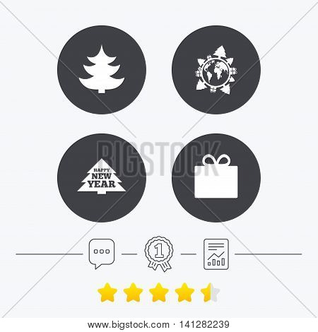 Happy new year icon. Christmas trees and gift box signs. World globe symbol. Chat, award medal and report linear icons. Star vote ranking. Vector
