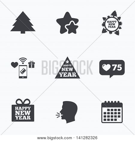 Happy new year icon. Christmas trees signs. World globe symbol. Flat talking head, calendar icons. Stars, like counter icons. Vector