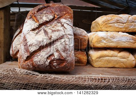 Traditional baked bread.