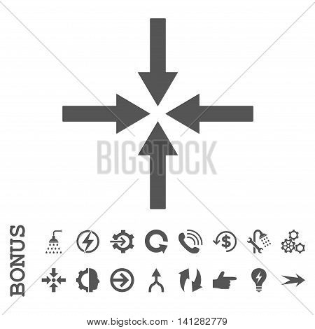 Impact Arrows vector icon. Image style is a flat iconic symbol, gray color, white background.