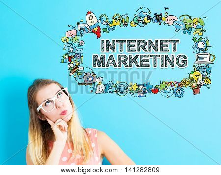 Internet Marketing Concept With Young Woman