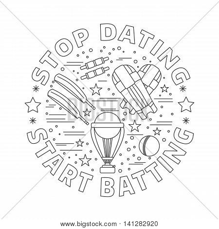 Cricket game icons in circle composition isolated on white background. Professional cricket sport equipment template for banner flyer t shirt book cover. Cricket thin line symbols. Vector concept.