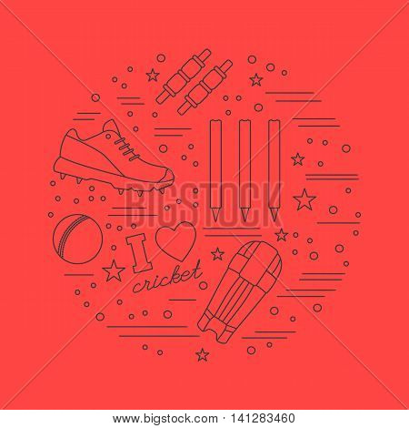 Round composition with cricket game symbols and objects. Cricket game icons arranged in round shape. Professional sport equipment graphic design elements isolated on red background. Vector template.