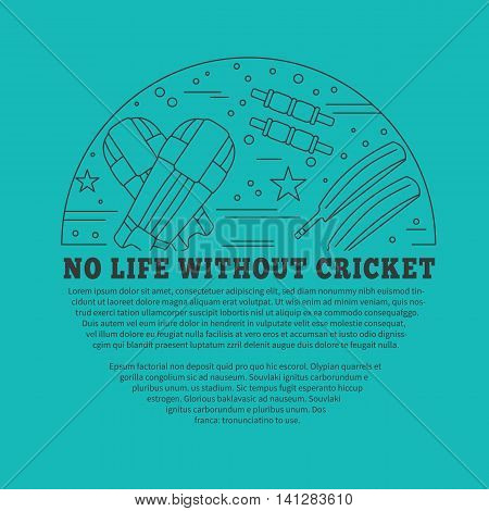 Flyer poster with cricket symbols and objects in circle with place for text. Vector template with professional cricket sport graphic design elements in thin line style isolated on green background.