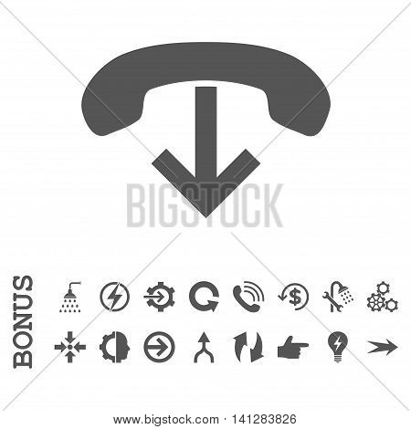 Phone Hang Up vector icon. Image style is a flat iconic symbol, gray color, white background.