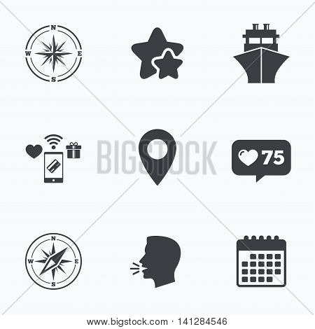 Windrose navigation compass icons. Shipping delivery sign. Location map pointer symbol. Flat talking head, calendar icons. Stars, like counter icons. Vector