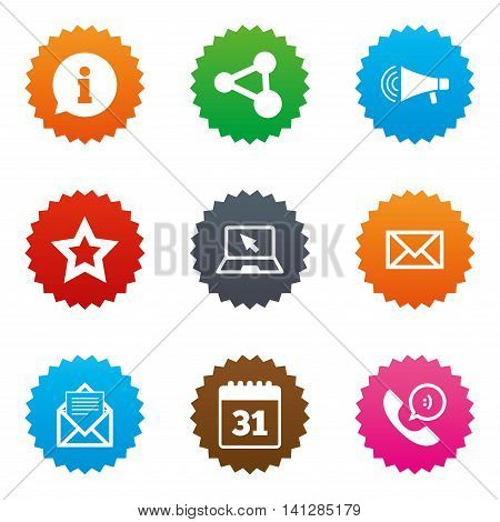 Communication icons. Contact, mail signs. E-mail, information speech bubble and calendar symbols. Stars label button with flat icons. Vector