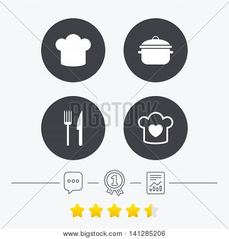 Chief hat and cooking pan icons. Fork and knife signs. Boil or stew food symbols. Chat, award medal and report linear icons. Star vote ranking. Vector