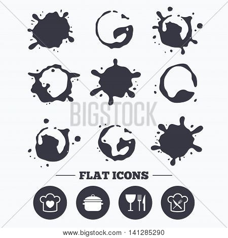 Paint, coffee or milk splash blots. Chief hat with heart and cooking pan icons. Crosswise fork and knife signs. Boil or stew food symbol. Smudges splashes drops. Vector