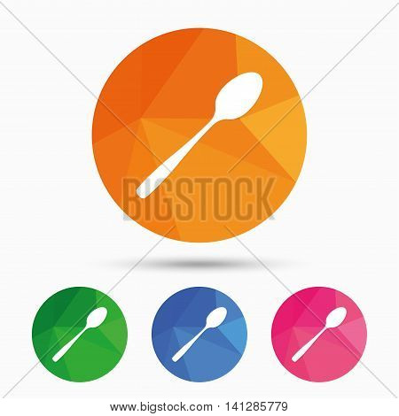 Eat sign icon. Cutlery symbol. Diagonal dessert teaspoon. Triangular low poly button with flat icon. Vector
