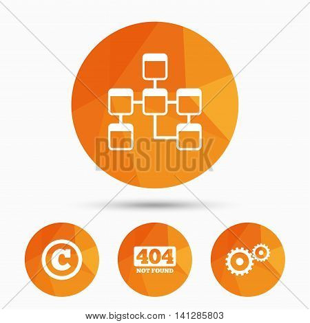 Website database icon. Copyrights and gear signs. 404 page not found symbol. Under construction. Triangular low poly buttons with shadow. Vector
