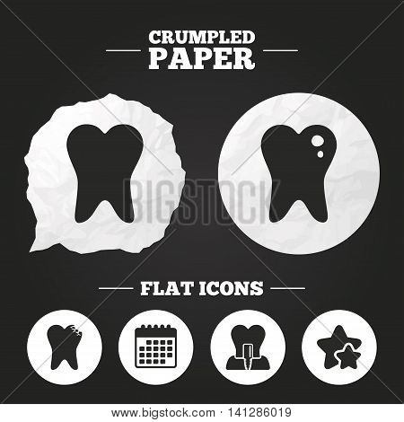 Crumpled paper speech bubble. Dental care icons. Caries tooth sign. Tooth endosseous implant symbol. Paper button. Vector