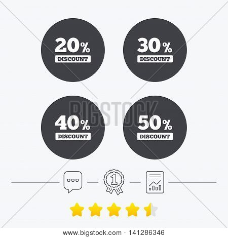 Sale discount icons. Special offer price signs. 20, 30, 40 and 50 percent off reduction symbols. Chat, award medal and report linear icons. Star vote ranking. Vector