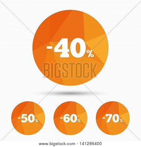 Sale discount icons. Special offer price signs. 40, 50, 60 and 70 percent off reduction symbols. Triangular low poly buttons with shadow. Vector