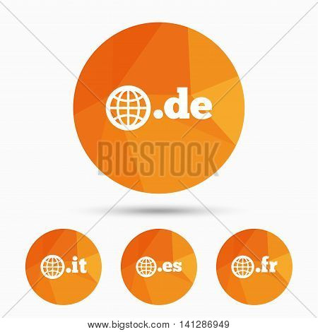 Top-level internet domain icons. De, It, Es and Fr symbols with globe. Unique national DNS names. Triangular low poly buttons with shadow. Vector