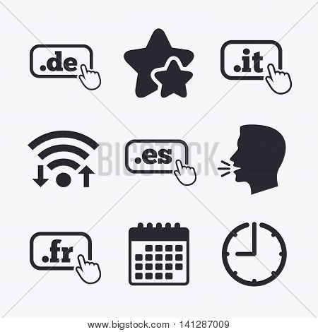 Top-level internet domain icons. De, It, Es and Fr symbols with hand pointer. Unique national DNS names. Wifi internet, favorite stars, calendar and clock. Talking head. Vector