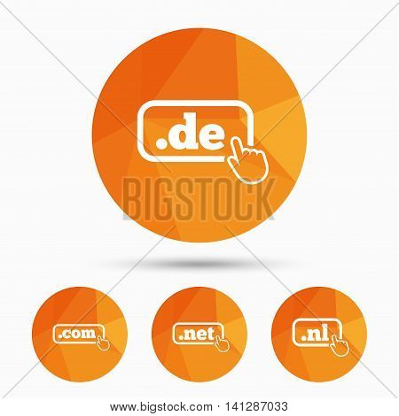 Top-level internet domain icons. De, Com, Net and Nl symbols with hand pointer. Unique national DNS names. Triangular low poly buttons with shadow. Vector