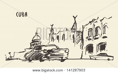 Sketch of a streets in Cuba vector illustration